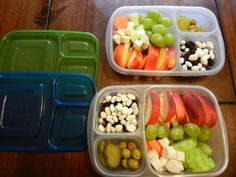 peaches, nectarines, oranges, grapes, carrots, cucumbers, cheese, olives, pickles, dry cereal, nuts, dried blueberries, and yogurt covered raisins.