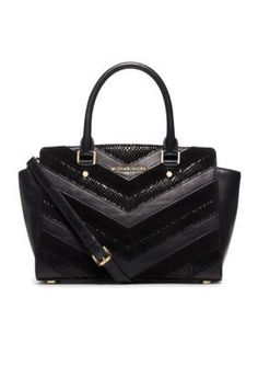 MICHAEL Michael Kors Selma Medium Top Zip Satchel Featuring a chevron patchwork design, this satchel is a must-have for your collection. Carry all of your essentials in style with this great piece.
