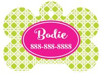 Personalized Green Geometric Pet Tag (Spring Time Design 12)  with Steelheart Font
