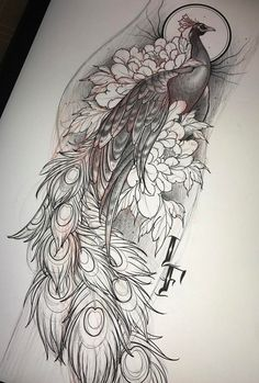 Skizze der Pfau Tattoo und Blumen - The Best Tattoos - Kunst Tattoos, Bild Tattoos, Body Art Tattoos, New Tattoos, Tattoo Hip, Iris Tattoo, Sleeve Tattoos, Peacock Drawing, Peacock Tattoo
