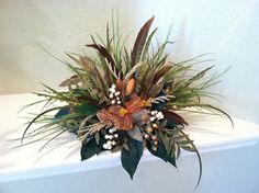 Rust Orchids & Feather Silk Floral Arrangement by GreatwoodFlorals, $48.00