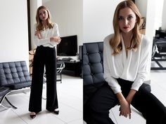 Get this look: http://lb.nu/look/7965566  More looks by Jess A.: http://lb.nu/fashionmugging  Items in this look:  Reiss V Neck Blouse, Jimmy Choo Pointy Flats, Mossman Wide Pants   #chic #classic #elegant