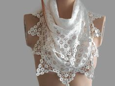 White Cotton scarf, White Lace scarf, White Bride scarf, Bridal Shawl, Women Cotton scarf, Lace scarf, Bridesmaid scarf, Womens accessory    White cotton lace.  You can use it and create many styles.  Multi-purpose complementary accessory.  You can make shawls, scarves, scarves, bandana, bustiers.  Bridesmaid accessory.  The bridesmaid may be an accessory.  Your friends may have a gift option.  Many options :)  Made of soft synthetic lace in triangle shape.   Machine can be washed at low…