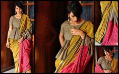 Saree Draping Styles, Saree Styles, Blouse Neck Designs, Blouse Patterns, Saree Dress, Sari Blouse, Peplum Blouse, Dress Skirt, Indian Look