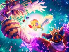 Kirby, Elline, Claycia [Kirby and The Rainbow Curse], Drawcia Sorceress [Kirby: Canvas Curse], Paintra [Kirby: Triple Deluxe] --- Planet Robobot --- FLOWER CROWN --- Queen Secto...
