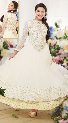 Gauhar Khan In White Anarkali Suit BR150849