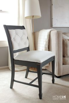 Incredible chair transformation! Do-it-yourself tufted back, nail head detail, and scroll work on the back!