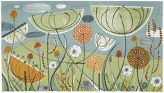 Angie Lewin is a lino print artist, wood engraver, screen printer and painter depicting the UK's natural flora in linocut and other limited edition prints. Lino Print Artists, Angie Lewin, Illustrations, Limited Edition Prints, Creations, Art Prints, Block Prints, Fennel, Patterns