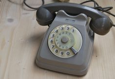 Vintage grey rotary old office phone from 80's by LuanaEgleVintage, $40.00