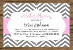 Baby Shower Invitation Grey Chevron Pink by PinkChampagnePaper, $15.00