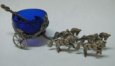 RARE Italian Four Horse Carriage Solid Silver and Cobalt Open Salt Cellar Dish | eBay