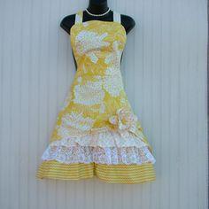 Womens Yellow Apron Ladies Apron Apron with Pocket by KozyKitchens