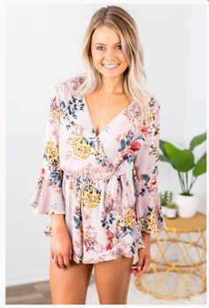 """Shop new arrivals at Beautique! Use code """"aubree10"""" at checkout to receive 10% off your order every time you purchase!  #romper #summerstyle #womensfashion #clothes #summer #floral #floralromper #shopsmall Plunging Neckline, Floral Romper, Floral Tops, Rompers, Slip On, Buttons, Monkeys, Plunging Neckline Outfits, Top Flowers"""