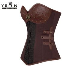 Corses Para Mujer 2016 Sexy Korset Vintage Plus Size Brown 12 huesos de acero Steampunk corsé Mujer con tanga LC5415 Corselete(China (Mainland))
