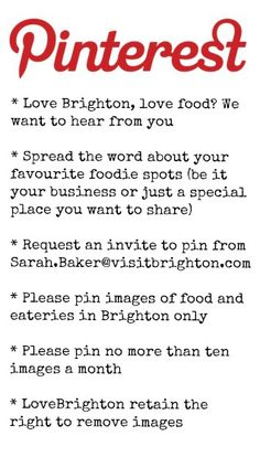 Love Brighton, love food? Request an invite to pin to the Brighton Food board.
