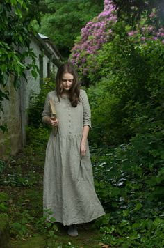 Natural Linen Long Dress by KnockKnockLinen on Etsy