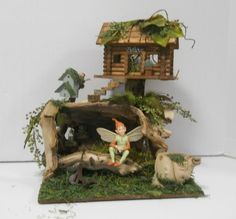 Fairy House Log Cabin for OOAK, Collectible Fairy, Doll House, Miniature