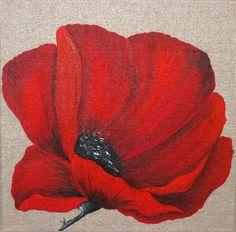 2 PEINTURES DE COQUELICOTS SUR TOILE DE LIN Ces peintures sont réalisées à l'acrylique Couleur : rouge Dimension : 2 x (30x30) Le prix indiqué concerne les 2 toiles  Fixa - 567525