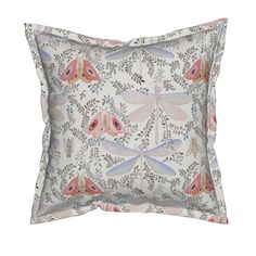 Serama Throw Pillow featuring Dragonfly & Moth Watercolor  by mariden | Roostery Home Decor