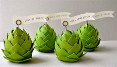 Paper Artichoke Place Settings by imeon design on Scoutmob Shoppe Paper Art, Paper Crafts, Diy Crafts, Diy Paper, Origami, Wedding Shower Decorations, Table Decorations, Pinecone Ornaments, Deco Table