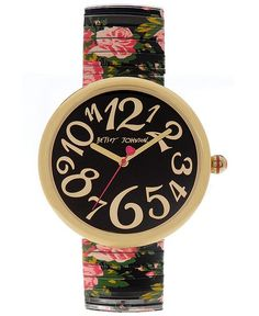Betsey Johnson Watch, Women's Printed Rose Stainless Steel Expansion Bracelet 36mm BJ00039-05 - Women's Watches - Jewelry & Watches - Macy's
