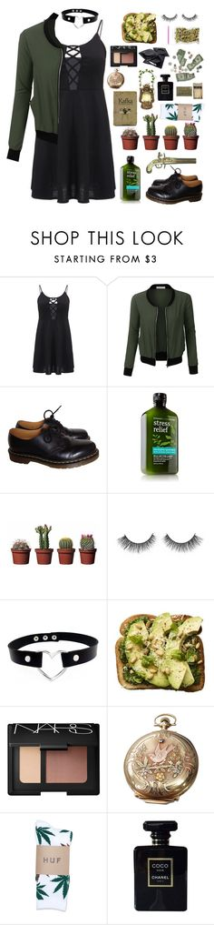 """""""Don't look back in anger"""" by jsphnjnnck ❤ liked on Polyvore featuring LE3NO, Dr. Martens, NARS Cosmetics, Elgin, HUF and Chanel"""