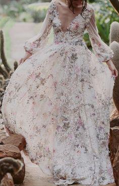 Paul Cowley Custom Floral Lace Unique Dress Wedding Dress On Sale Handmade Wedding Dresses, Wedding Dresses For Sale, Wedding Dress Styles, Bridal Dresses, Dress Wedding, Unique Dresses, Pretty Dresses, Beautiful Dresses, Unique Colored Wedding Dresses