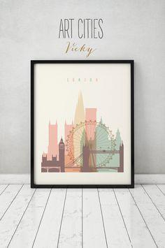 Londres la impresión, cartel, arte de la pared, paisaje, horizonte de Londres, ciudad cartel, arte de la tipografía, regalo, Casa Decor Digital de impresión, impresiones de arte VICKY.   CALIDAD Y DETALLES ►Paper: EPSON Premium Glossy o Semigloss foto papel mejor 5 estrellas en 251 o 255 gr. ►Ink: Epson archival profesional tinta para estampados coloridos y vibrantes que son agua y resistente a la decoloración ►Posters duran hasta 98 años en un marco, o más de 200 años en un álbum de fotos…