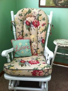 Reupholstered Glider Chair (find Used Glider And Reupholster W/ Fun Fabric)    U003eu003ecreative:diyu003cu003c   Pinterest   Gliders, Glider Chair And Fabrics