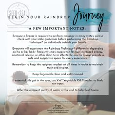 The Journey- Raindrop Technique collection includes: Seven Single Oils (5-ml bottles) Thyme Basil Peppermint Oregano Wintergreen Cypress Marjoram Two Oil Blends (5-ml bottles) Valor® Aroma Siez™ Also Contains 8-oz. Ortho Ease® Massage Oil 8-oz. V-6™ Vegetable Oil Complex By Young living