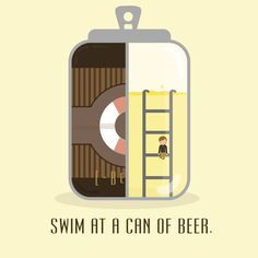 Swim at a can of beer. Self rescue. #design #graphics #illustration #vector #drawings #idea #emchengillustration