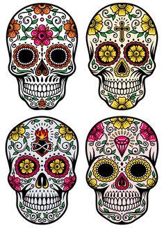 day of the dead skull vector set