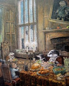 "Mr Toad is happy to be back in his much loved ancestral home thanks to the help of his good friend, Mr. Badger Inga Moore, illustrator for ""The Wind in the Willows"" Mr Toad, Beatrix Potter, Children's Book Illustration, Book Illustrations, Whimsical Art, The Help, Fantasy Art, Book Art, Fairy Tales"