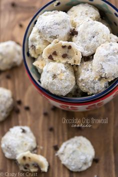 This Chocolate Chip Snowball Cookies recipe adds chocolate chips to Russian Tea Cake Cookies! (Delicious! I halved the recipe and it only made about 16 cookies).