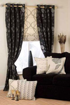 Monochrome Curtains & Roman Blind.