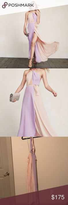 The Reformation Estella Lavender/Pink Maxi Dress 2 Beautiful lavender purple and nude/blush/pink Maxi colorblock dress in size 2. Worn once and in good condition. Reformation Dresses Maxi