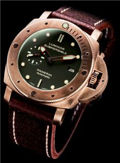 Panerai Bronze Luminor Sub (PAM 382), brushed bronze case/bezel with green dial