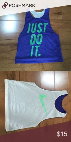 Reversible Nike Tank 🍍 No low ball offers  🍍 No modeling - if it fit I would have already posted a picture  🍍 POSH ONLY   Jersey feel, only worn once or twice. Nike Tops Tank Tops