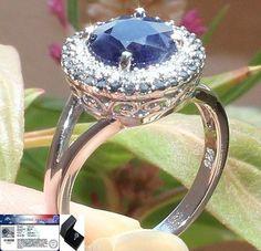 Vintage 3.25 cts Genuine Diamond & Blue Sapphire Ring Solid 925SS S#6.5 NR & FS #JPS #Vintage