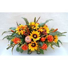 No f002 Fall Cemetery Arrangement No Headstone Saddle Grave Tombstone... ($43) ❤ liked on Polyvore featuring home, home decor, floral decor, black, home & living, fall silk arrangements, artificial arrangement, silk arrangements and fall home decor