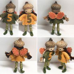 Custom order...autumn fairies for birthday girls turning 5. Handmade bendy dolls by www.pntdolls.com