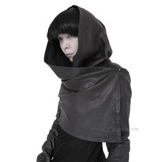 OBSCUR - cropped hooded leather vest