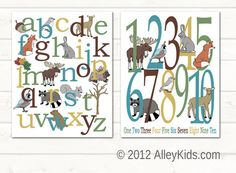 Woodland alphabet and number poster, perfect addition to a woodland nursery theme. Hand drawn woodland animal nursery art. $30.00 #nursery #art #woodland