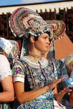 Slovakia Cajkov Village headdress, photo by Milan Hlôška Photos Of Women, More Photos, Ethnic Fashion, Colorful Fashion, Tribal Dress, Family Roots, Wedding Costumes, Folk Costume, Festival Wear