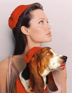 Angelina Jolie art photgraphy...BASSET HOUND!  Hilarious!