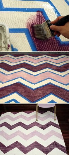 DIY: painted chevron rug. (For under desk area.)