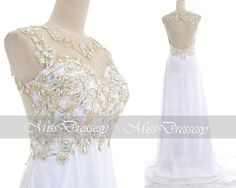 White Prom Dresses, 2014 Prom GOwn, Straps with Open Back Lace and Chiffon Long White Prom Dresses, White Fomal Gown,White Evening Dresses
