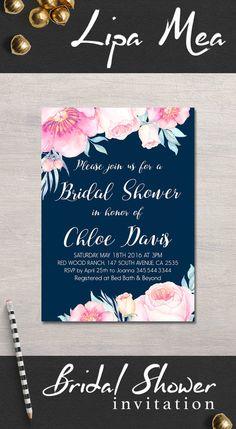 Navy Bridal Shower Invitation Printable, Floral Bridal Shower Invitation…
