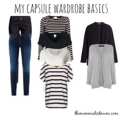 Week One: Capsule Wardrobe Basics | The Minimalist Mom Comfortable and flattering basics in neutral colors that you can add variety to with bold accessories and dress up with heels and chandelier earrings.