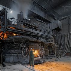 The beginning of heavy industries in town of Store can be found in 1845 already, when the first water hammer was founded on the. Water Well Drilling, Industrial Machinery, Steel Mill, Industrial Architecture, Old Factory, Industrial Photography, Industrial Revolution, Abandoned Places, Abandoned Homes